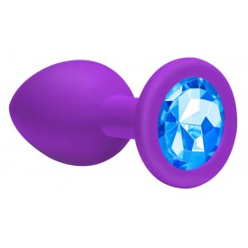 Большая фиолетовая анальная пробка Emotions Cutie Large с голубым кристаллом - 10 см.